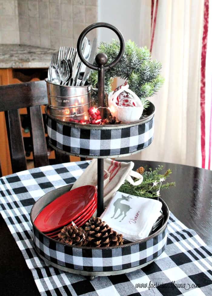 DIY tiered tray for organizing dishes at Christmas