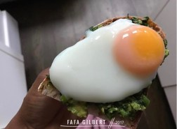 POACHED EGG ON SOURDOUGH TOAST WITH GUACAMOLE