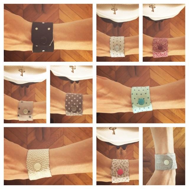 Manchettes réversibles lin et tissus à motifs