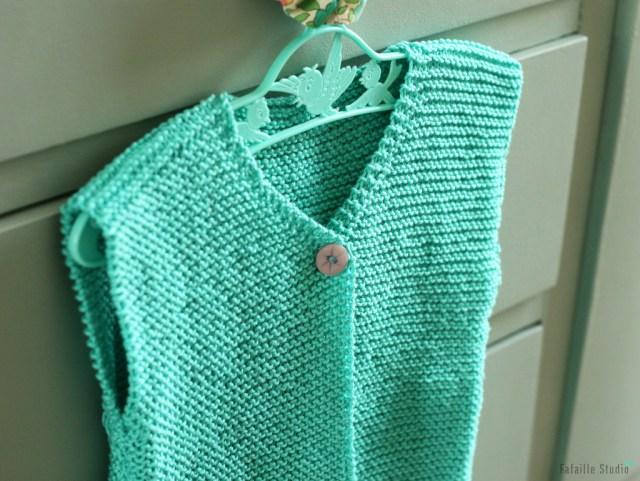 gilet berger tricoté en fil de coton