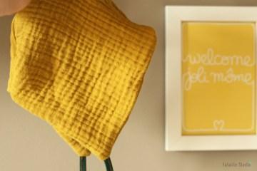 Couddre un béguin dans un tissu lange moutarde