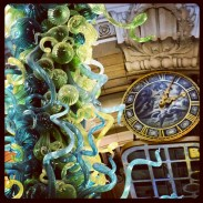 Glass sculpture and clock in the atrium of the Victoria and Albert Museum