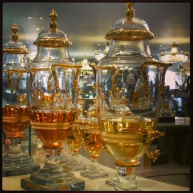 Perfume jars inside Fortnum and Mason
