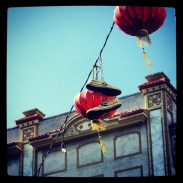 Chinatown lanterns with shoes