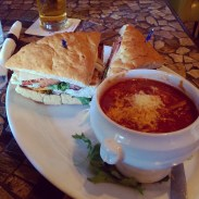 My dad's AE's Classic sandwich with Chicken Cacciatore soup.