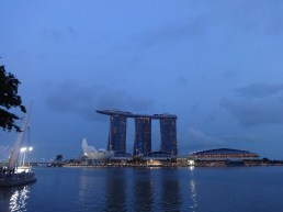 A night view of the Marina Bay Sands Hotel, Shoppes and ArtScience Museum before their (sort of sad) light show started.