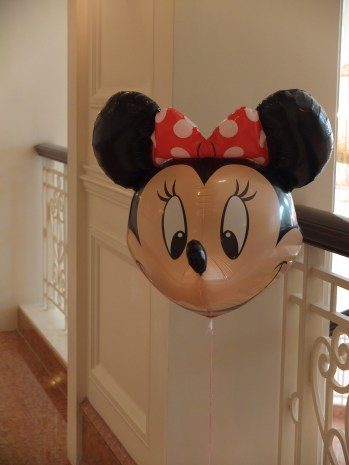 A child's balloon in the halls of the Hong Kong Disneyland Hotel