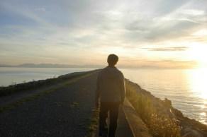 My cousin walking Iona Beach