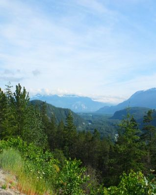 A view of the mountains from a road stop on the way to Squamish.