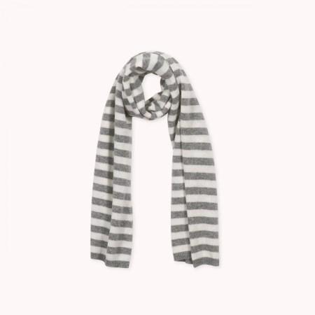 Fagiolino Cashmere Scarf Stripes Zeno Grey Detail