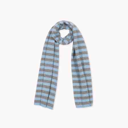 Fagiolino Cashmere Scarf Stripes Celeste Blue