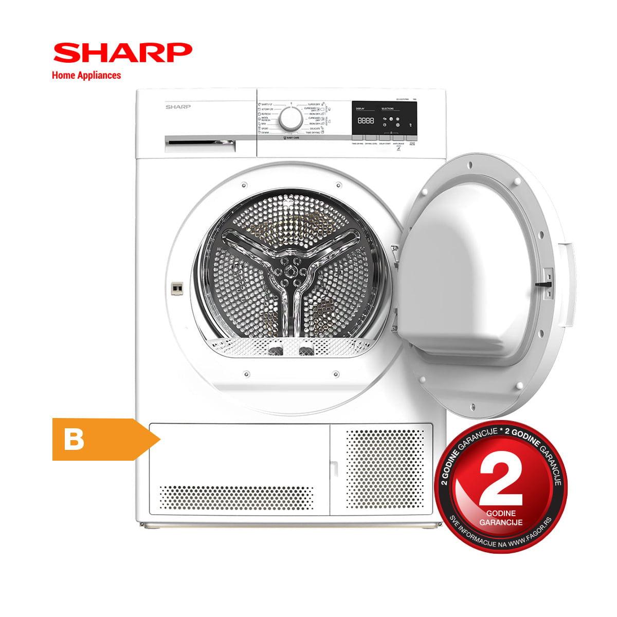 Mašina za sušenje veša 7kg – SHARP KD-GCB7S7PW9 otvoren 1
