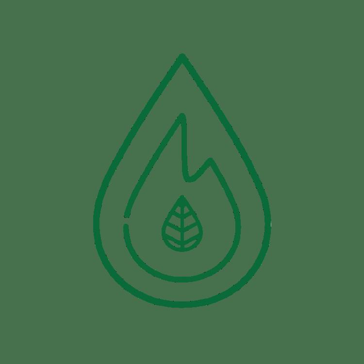 Het logo van Fagus Outdoor. Water, vuur en een beukenblaadje