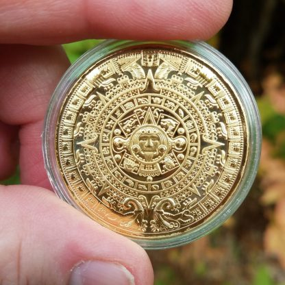 Aztec Calendar (Sun Stone) in Golden Metal