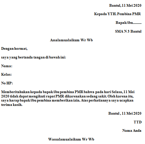 contoh surat izin tidak masuk ekstrakulikuler PMR
