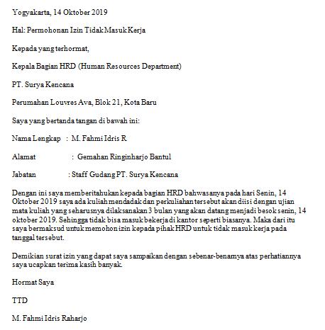 contoh surat izin tidak masuk kerja karena kuliah