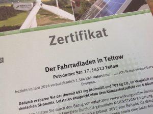 Naturstrom-Zertifikat