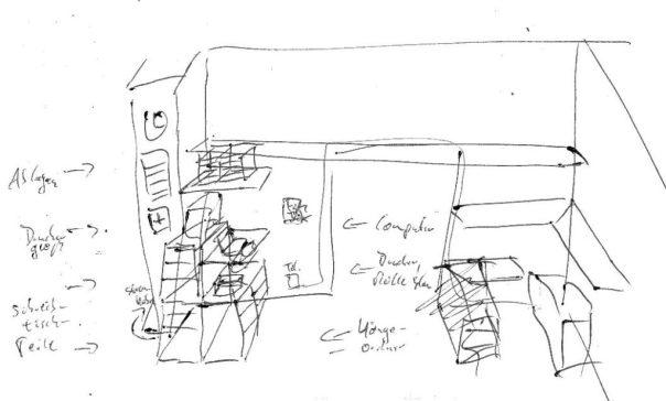 grobe Skizze mit kompaktem Computerarbeitsplatz