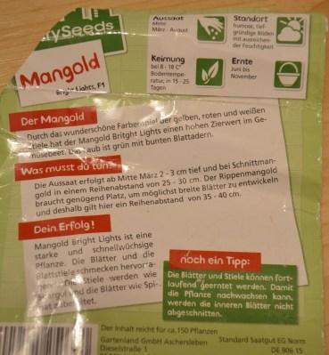 Infos zum Mangold-Saatgut von 2015 :)