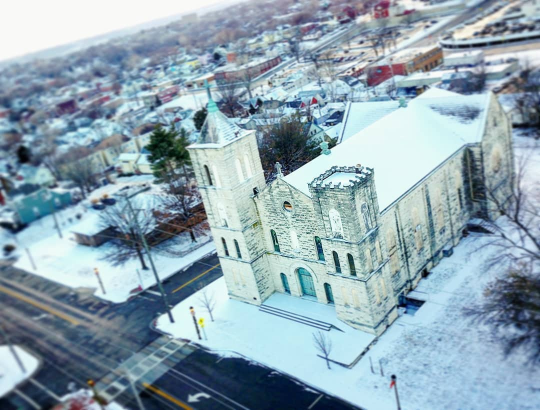 Broke a gimbal showing off to the family over break, but still got some snow pictures of the backyard church atop
