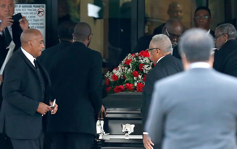 The casket carrying Botham Shem Jean arrives at Greenville Avenue Church of Christ on September 13, 2018 in Richardson, Texas. Photo: Stewart F. House (Getty Images)