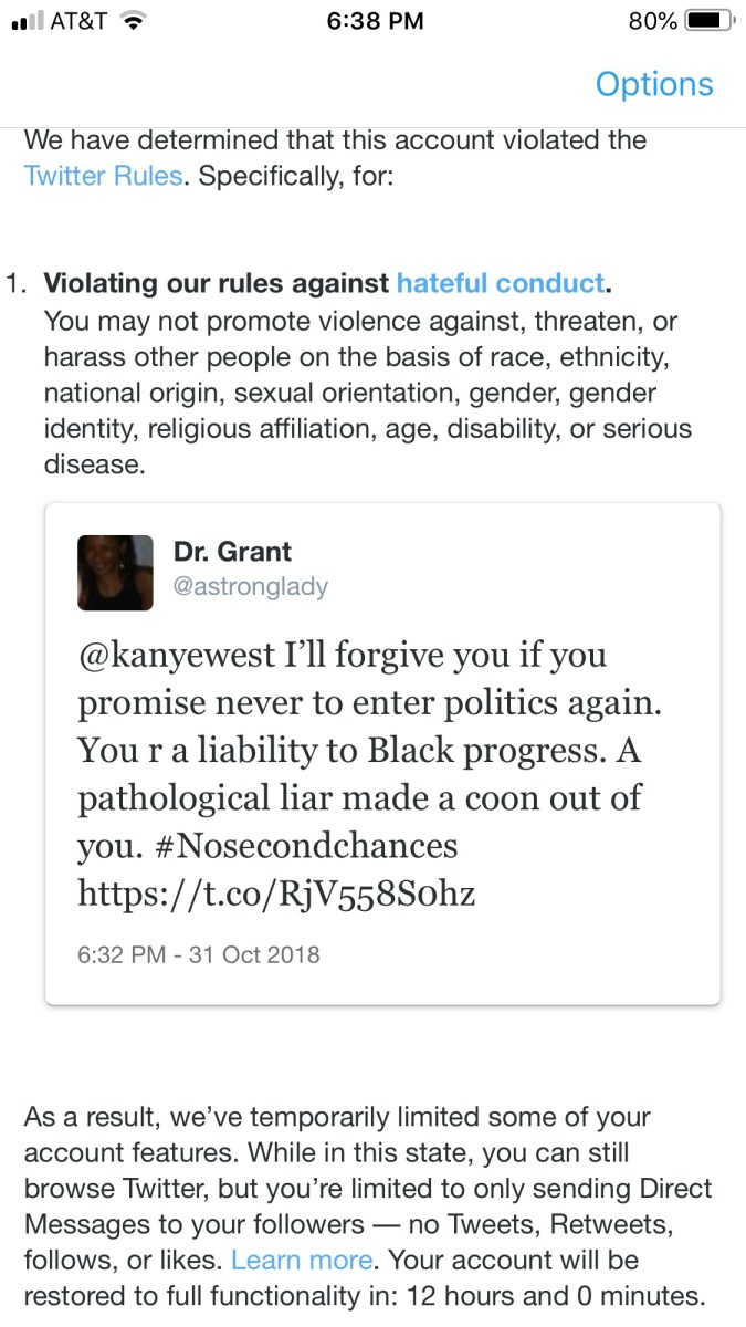Twitter Censorship:  Twitter Suspension For Calling Kanye West A Coon