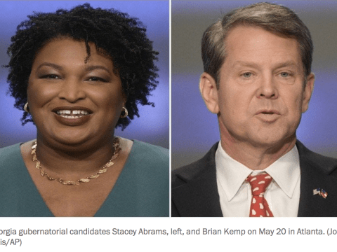 Georgia gubernatorial candidates Stacey Abrams, left, and Brian Kemp on May 20 in Atlanta. (John Amis/AP)