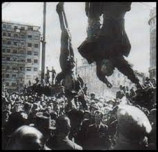 Mussolini hanging by feet in Townsquare