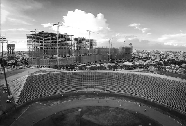 olympic stadiums construction bw
