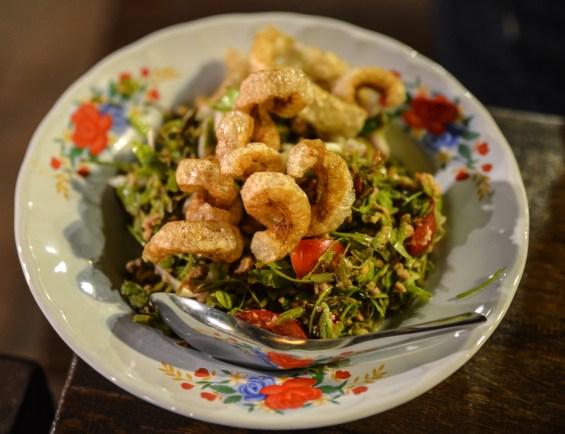 Tamarind leaf salad.
