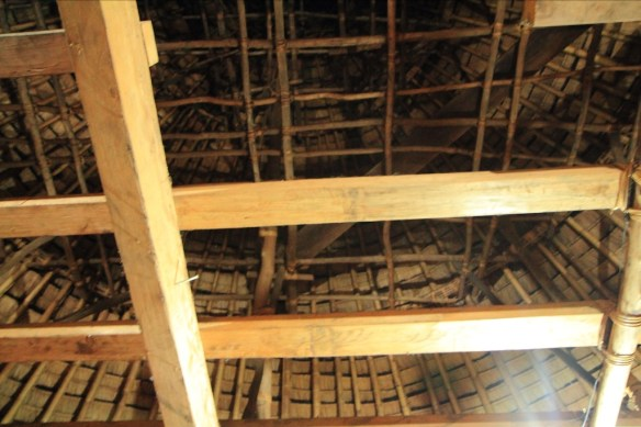 The interesting interior architecture of a Manggarai house.