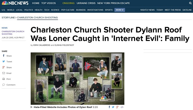 NBC: Dylann Roof Caught in Internet Evil