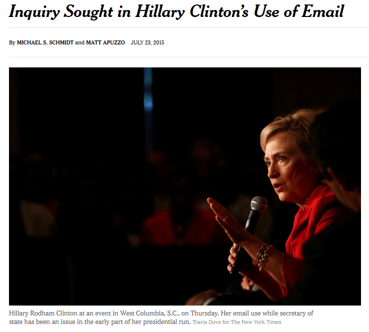 NYT: Inquiry Sought in Hillary Clinton's Use of Emails