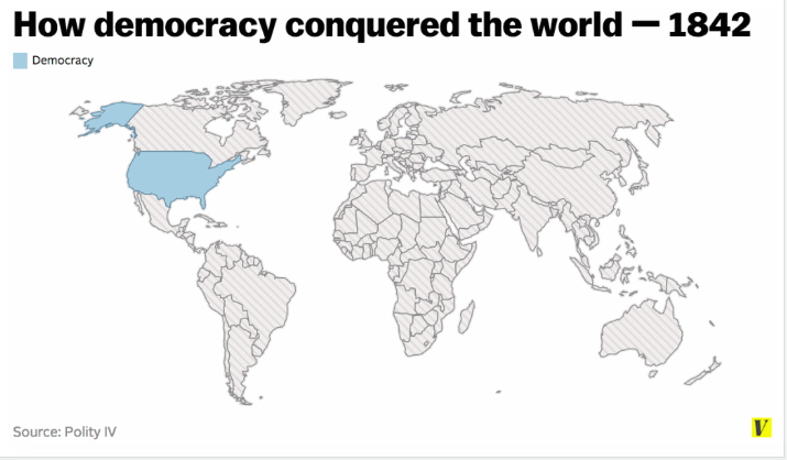 """Map of global """"democracy"""" in 1842"""