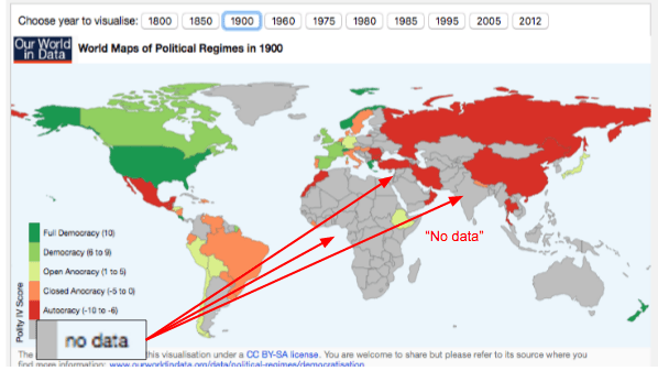 """Map of world """"democracy"""" in 1900"""