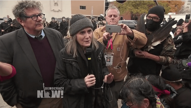 Amy Goodman announcing the dismissal of charges against her outside the Morton County Courthouse in Mandan, North Dakota.