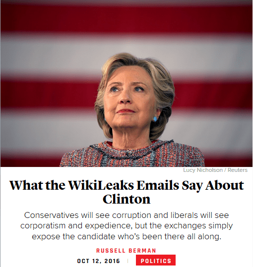 Atllantic: What the WikiLeaks Emals Say About Clinton