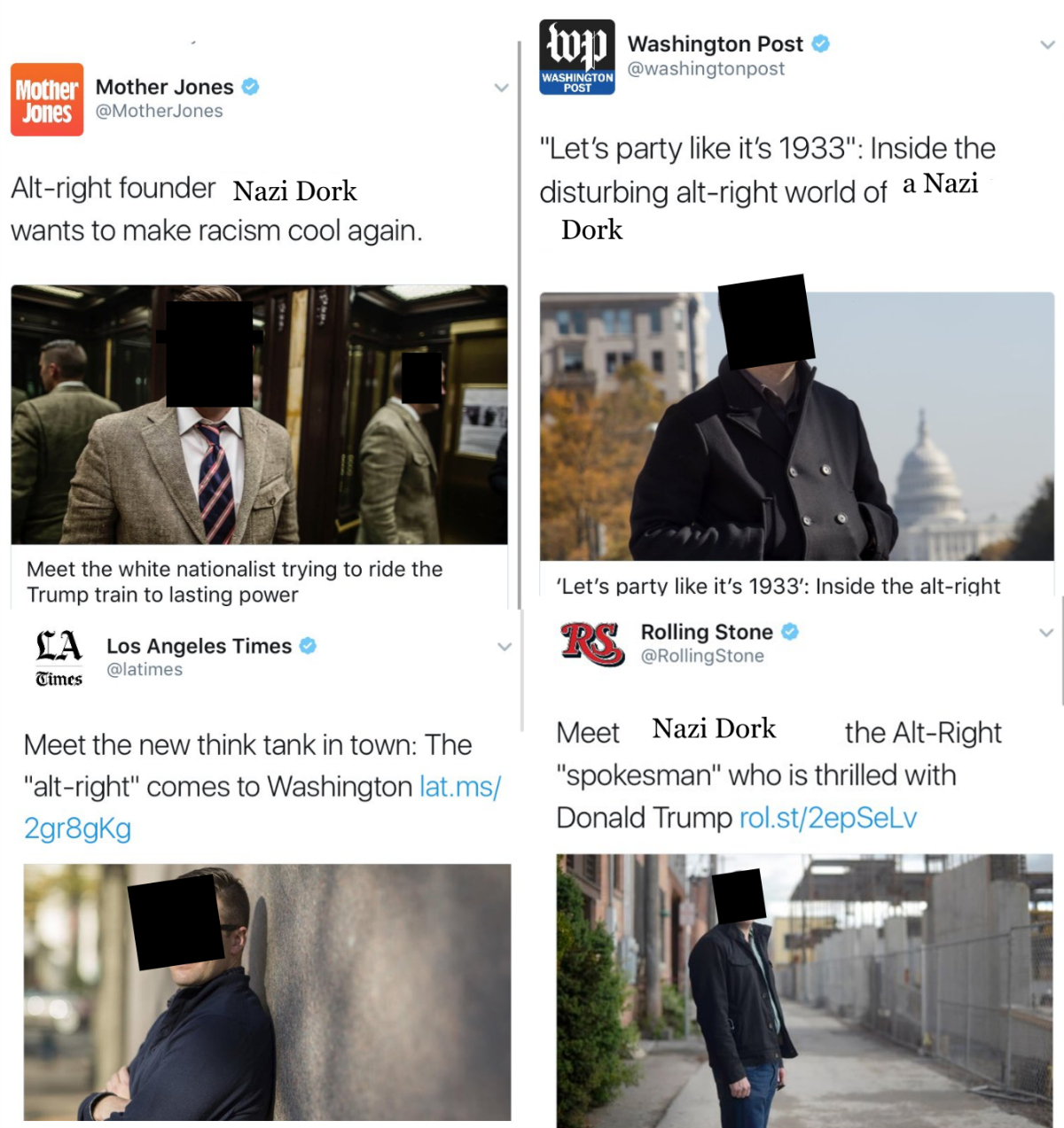 Twitter promotion of the Nazi Dork