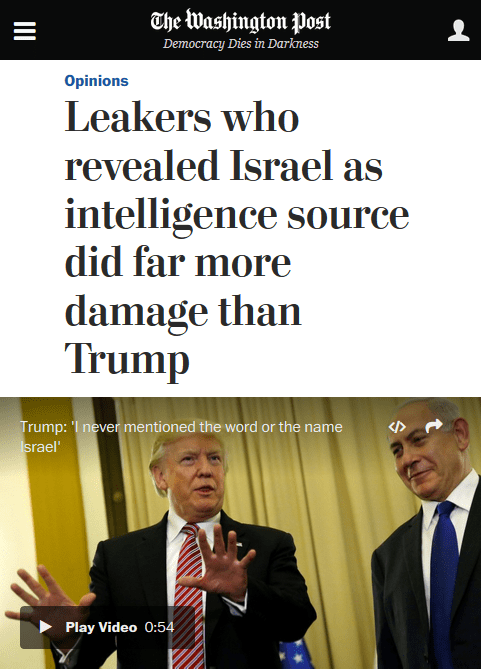 Washington Post: Leakers who revealed Israel as intelligence source did far more damage than Trump