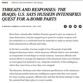 NYT: U.S. SAYS HUSSEIN INTENSIFIES QUEST FOR A-BOMB PARTS