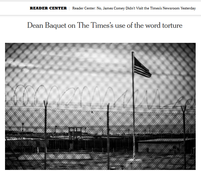 NYT: Dean Baquet on The Times's use of the word torture