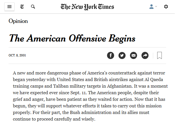 New York Times: The American Offensive Begins