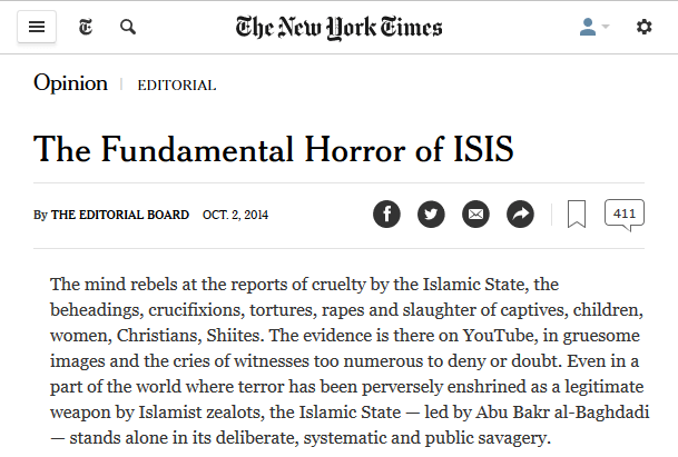New York Times: The Fundamental Horror of ISIS