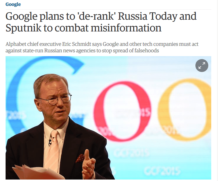Guardian: Google plans to 'de-rank' Russia Today and Sputnik to combat misinformation