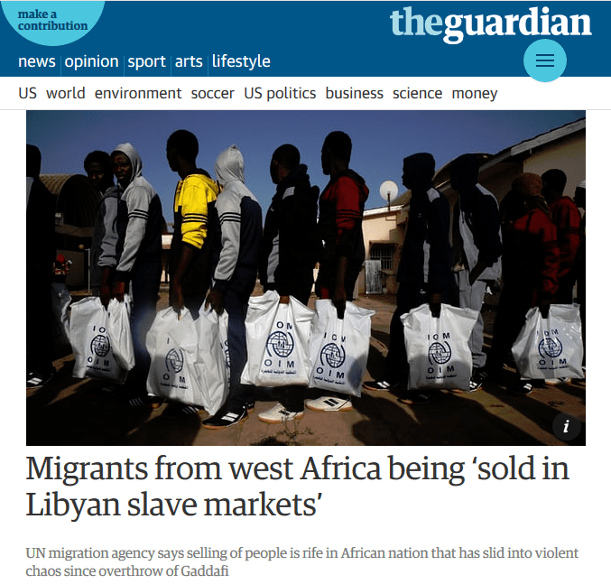 Guardian: Migrants from west Africa being 'sold in Libyan slave markets'