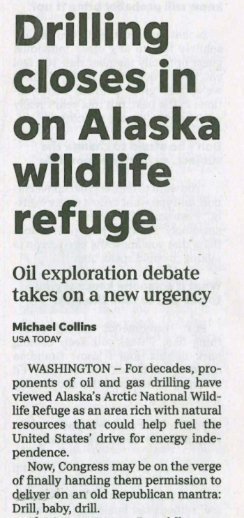 USA Today: Drilling Closes in on Alaska Wildlife Refuge