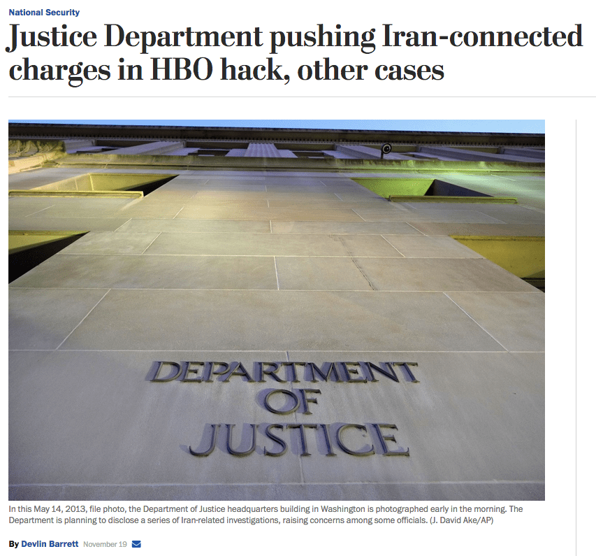 WaPo: Justice Department pushing Iran-connected charges in HBO hack, other cases