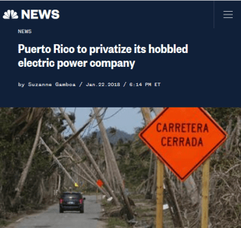 NBC: Puerto Rico to privatize its hobbled electric power company
