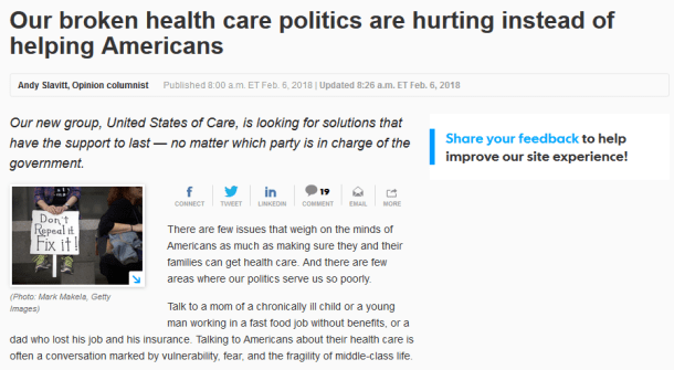 USA Today: Our Broken Healthcare Policies Are Hurting Instead of Helping Americans