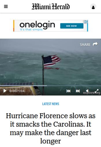 Miami Herald: Hurricane Florence slows as it smacks the Carolinas. It may make the danger last longer